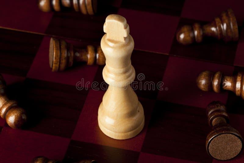 Κλασική ξύλινη σκακιέρα με τα κομμάτια σκακιού στοκ φωτογραφίες