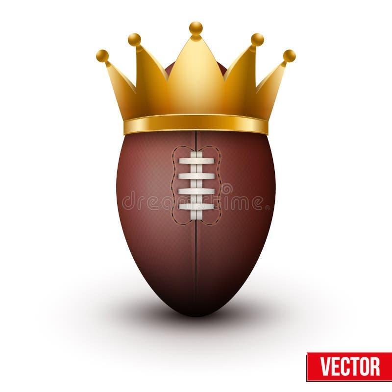 Κλασική σφαίρα ράγκμπι με τη βασιλική κορώνα απεικόνιση αποθεμάτων
