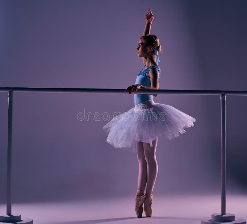 Κλασική τοποθέτηση ballerina στην μπάρα μπαλέτου στοκ φωτογραφίες