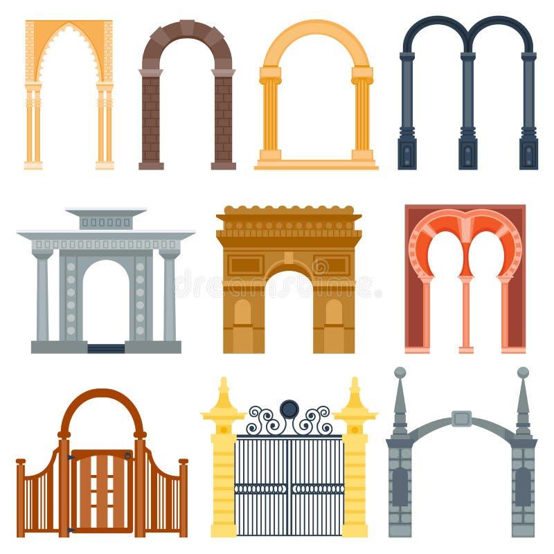 Κλασικός πλαισίων κατασκευής αρχιτεκτονικής σχεδίου αψίδων, πρόσοψη πορτών πυλών δομών στηλών και οικοδόμηση πυλών αρχαίοι ελεύθερη απεικόνιση δικαιώματος