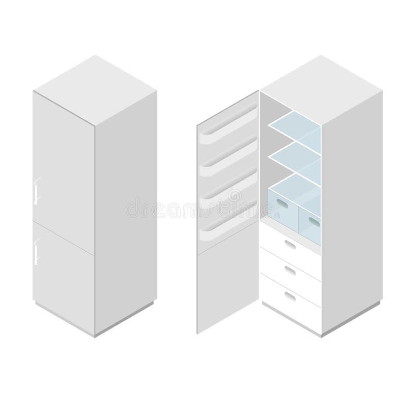 Κλασικό άσπρο εγχώριο ψυγείο Επίπεδος Isometric ελεύθερη απεικόνιση δικαιώματος