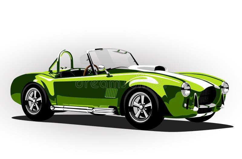 Κλασικό ανοικτό αυτοκίνητο cobra σπορ αυτοκίνητο πράσινο διανυσματική απεικόνιση