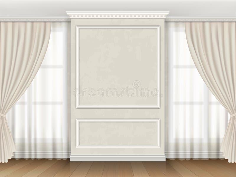 Κλασικό εσωτερικό με τις σχηματοποιήσεις επιτροπής και τις κουρτίνες παραθύρων απεικόνιση αποθεμάτων