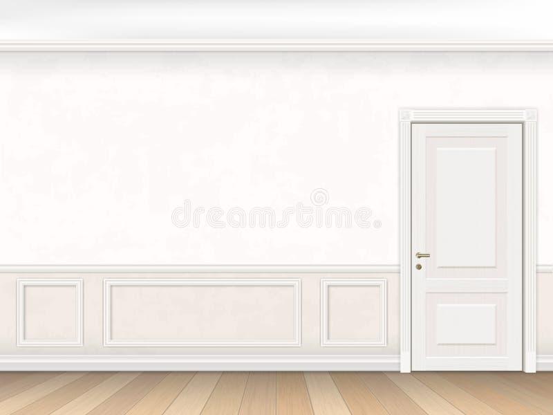 Κλασικό εσωτερικό στο άσπρο χρώμα με την πόρτα διανυσματική απεικόνιση