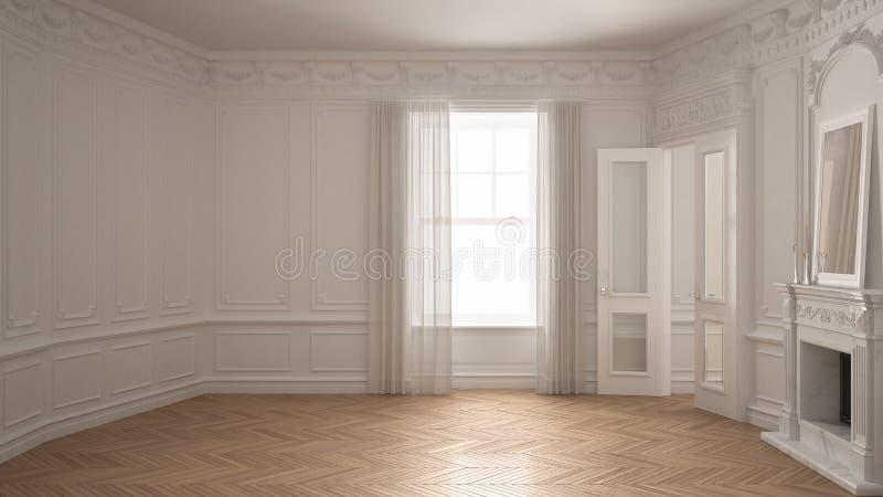 Κλασικό κενό δωμάτιο με το μεγάλα παράθυρο, την εστία και το ψαροκόκκαλο wo απεικόνιση αποθεμάτων