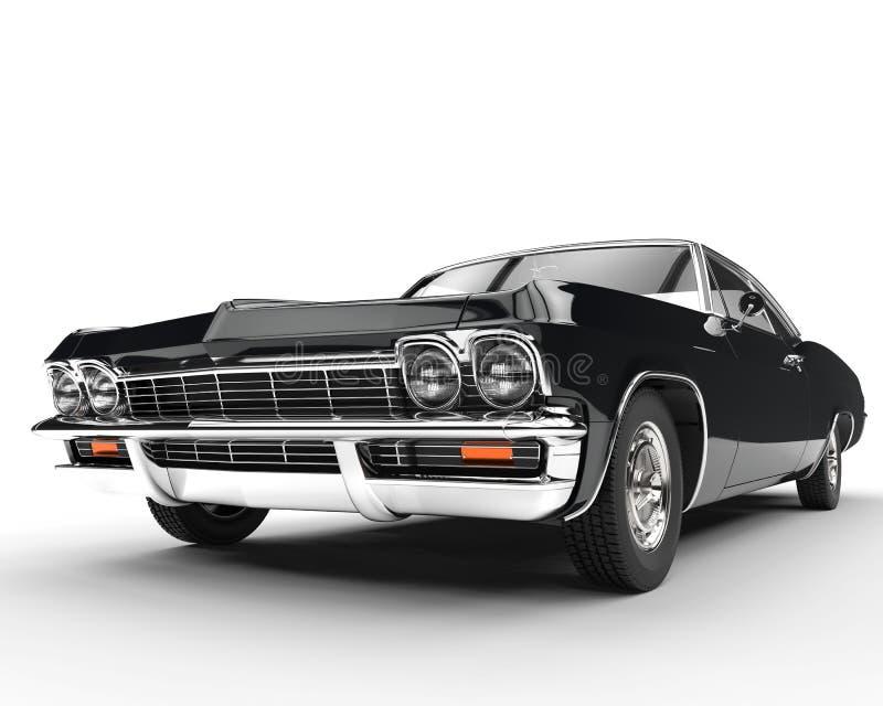 Κλασικό μαύρο αυτοκίνητο μυών - κινηματογράφηση σε πρώτο πλάνο μπροστινής άποψης διανυσματική απεικόνιση