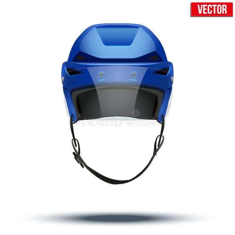 Κλασικό μπλε κράνος χόκεϋ πάγου με το γείσο γυαλιού απεικόνιση αποθεμάτων