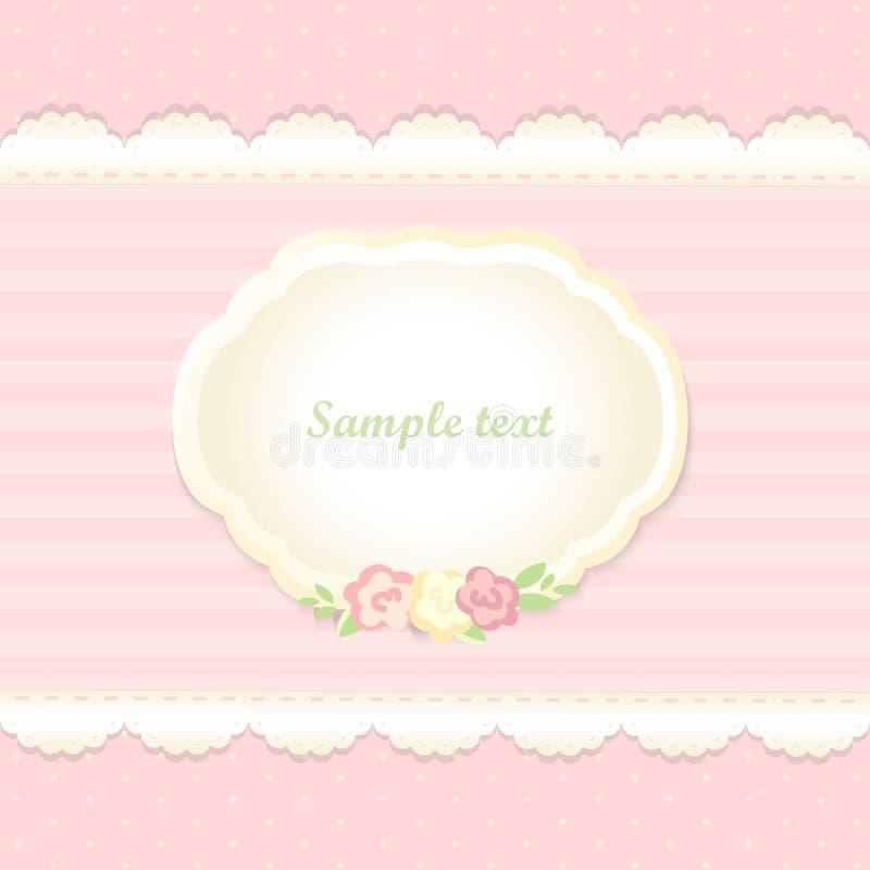 Κλασικό ρομαντικό σχέδιο πρόσκλησης διάνυσμα Ροζ διανυσματική απεικόνιση