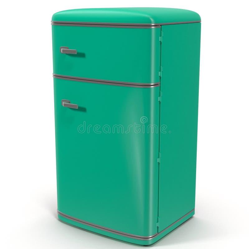 Κλασικό ψυγείο Απομονωμένος στο λευκό τρισδιάστατη απεικόνιση ελεύθερη απεικόνιση δικαιώματος