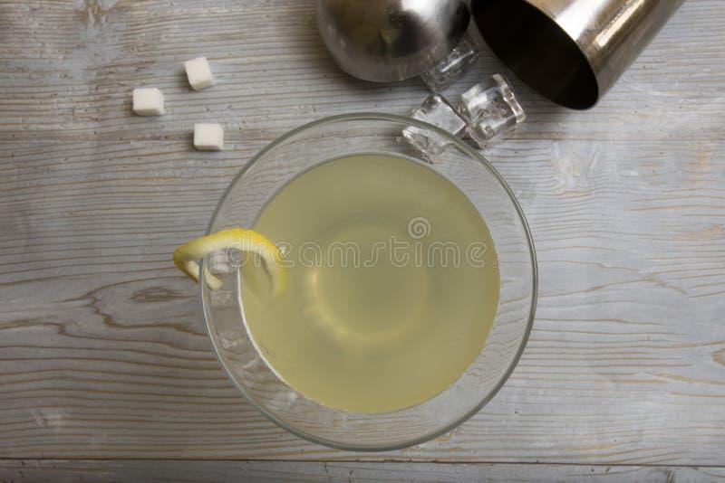 Κλασικό Martini πτώσης λεμονιών κοκτέιλ με το δονητή στοκ εικόνες με δικαίωμα ελεύθερης χρήσης