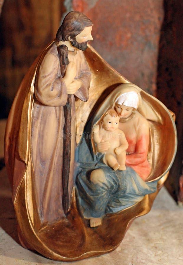 Κλασικό Nativity με Joseph, την κυρία και το μωρό μας Ιησούς στοκ φωτογραφία με δικαίωμα ελεύθερης χρήσης