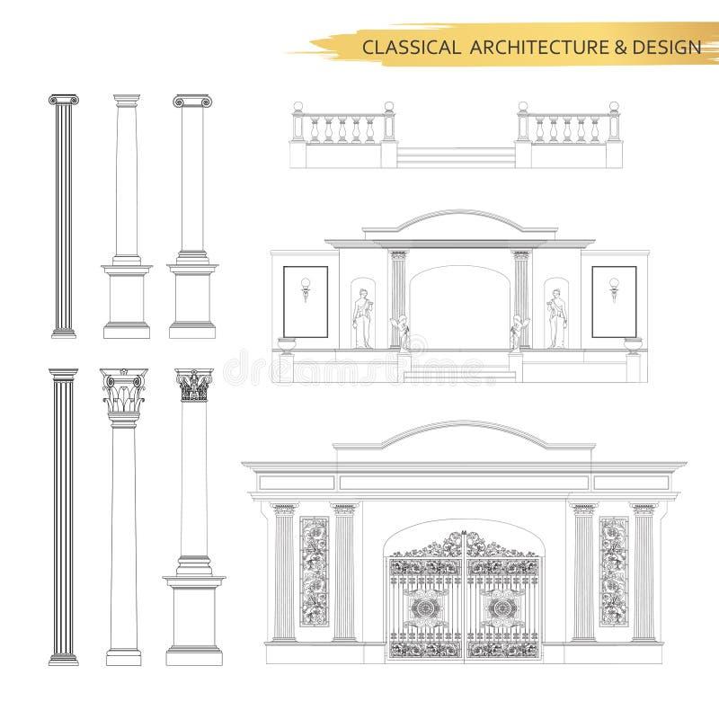 Κλασσικά αρχιτεκτονικά σχέδια μορφής στο σύνολο Διανυσματικό σχέδιο des απεικόνιση αποθεμάτων