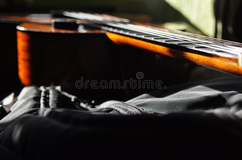 κλασσική κιθάρα Η έκδοση του α οι ήχοι οργάνων Fretboard, σειρές στοκ εικόνες