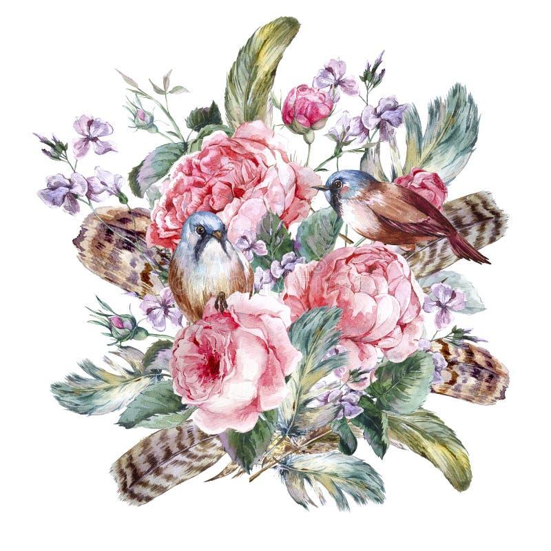 Κλασσική floral εκλεκτής ποιότητας ευχετήρια κάρτα watercolor ελεύθερη απεικόνιση δικαιώματος