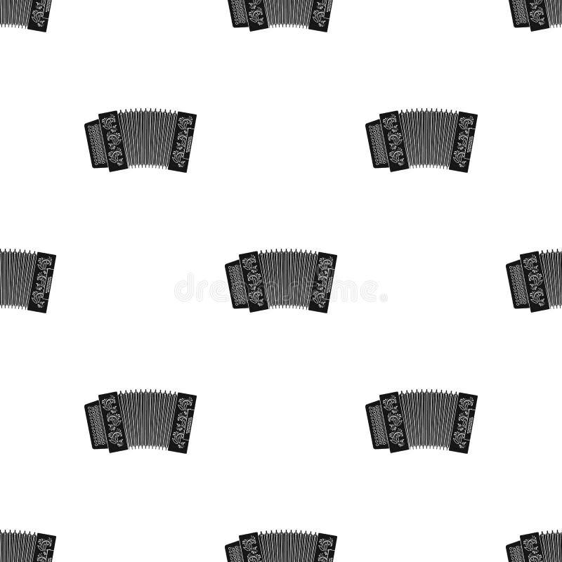 Κλασσικός bayan, ακκορντέον ή αρμονικό εικονίδιο στο μαύρο ύφος που απομονώνεται στο λευκό Ρωσικό απόθεμα σχεδίων χωρών διανυσματική απεικόνιση