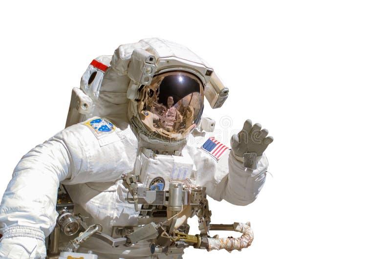 Κλείστε επάνω ενός αστροναύτη που απομονώνεται στο άσπρο υπόβαθρο στοκ φωτογραφίες