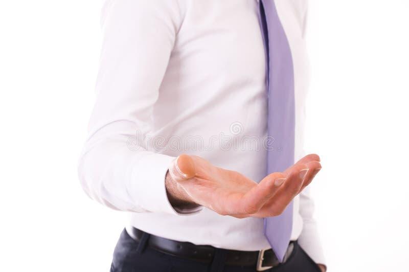 Επιχειρησιακό άτομο με το κενό χέρι. στοκ φωτογραφίες με δικαίωμα ελεύθερης χρήσης