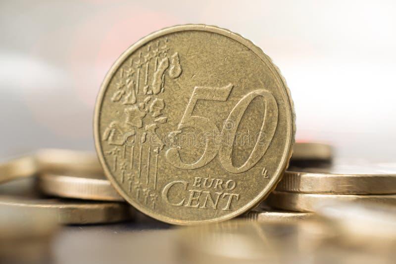 Κλείστε επάνω ενός νομίσματος πενήντα σεντ στοκ φωτογραφίες