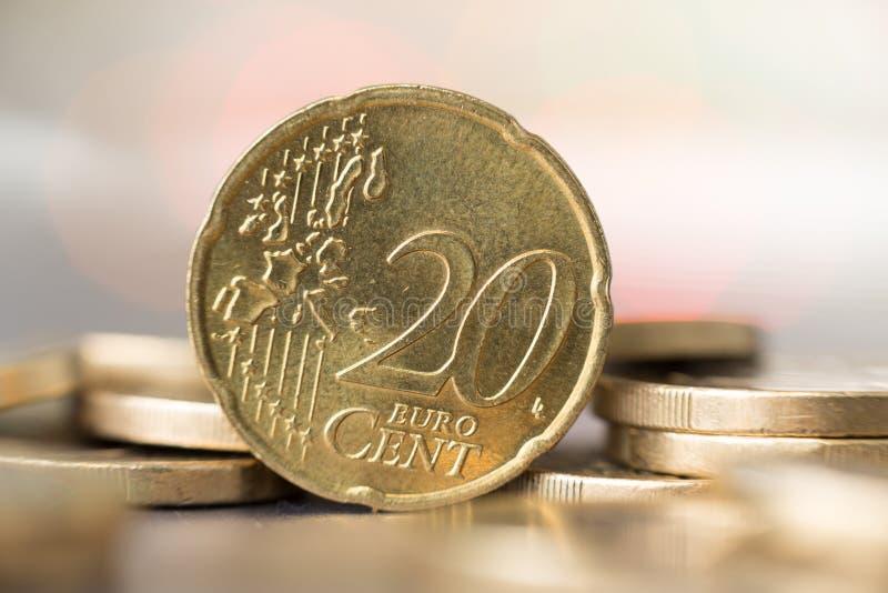 Κλείστε επάνω ενός νομίσματος 20 σεντ στοκ φωτογραφίες