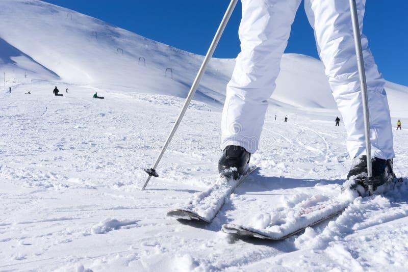 Κλείστε επάνω τα πόδια skier's με τους πόλους σκι στοκ εικόνα με δικαίωμα ελεύθερης χρήσης