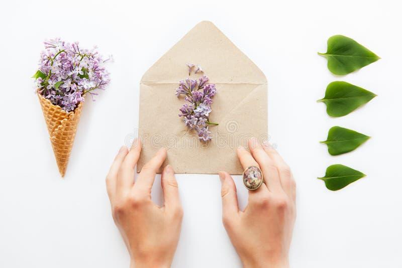 Κλείστε επάνω τα χέρια γυναικών σχετικά με τον ανοιγμένο φάκελο εγγράφου τεχνών που γεμίζουν με τα πορφυρά ιώδη λουλούδια που περ στοκ εικόνα
