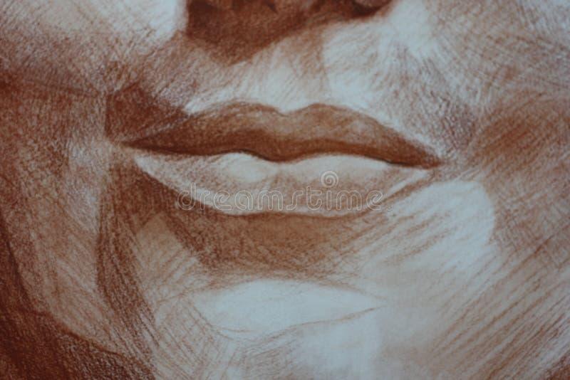 Κλείστε επάνω τα χείλια των επικεφαλής κρητιδογραφιών ενός γυναικών πορτρέτου στοκ εικόνα