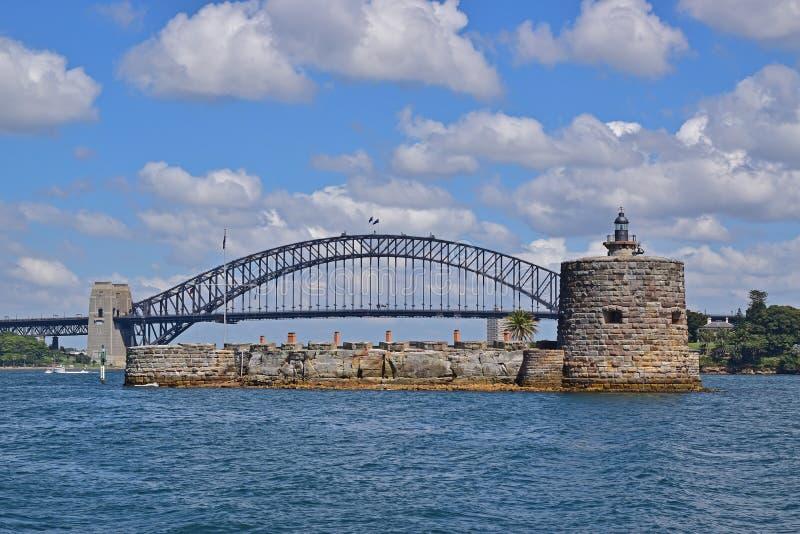 Κλείστε επάνω την άποψη του οχυρού Denison με τη λιμενική γέφυρα του Σίδνεϊ στο υπόβαθρο στοκ εικόνα με δικαίωμα ελεύθερης χρήσης