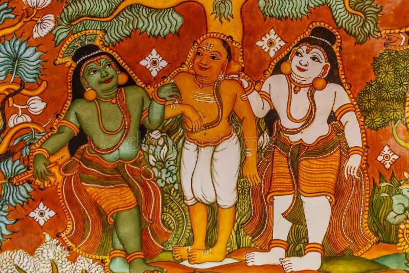 Κλείστε επάνω την άποψη των αρχαίων ινδικών έργων ζωγραφικής τοίχων θεών, Chennai, nadu του Ταμίλ, Ινδία 25 Φεβρουαρίου 2017 στοκ φωτογραφία