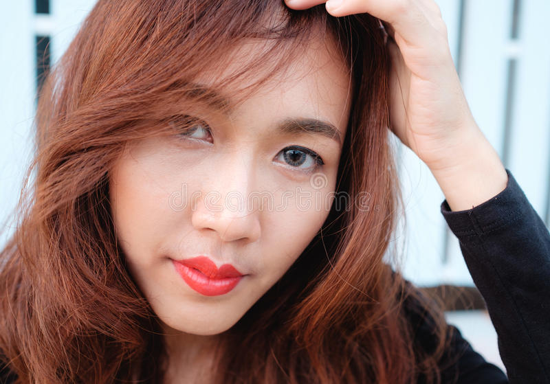 Κλείστε επάνω την ασιατική ομορφιά προσώπου στοκ φωτογραφίες