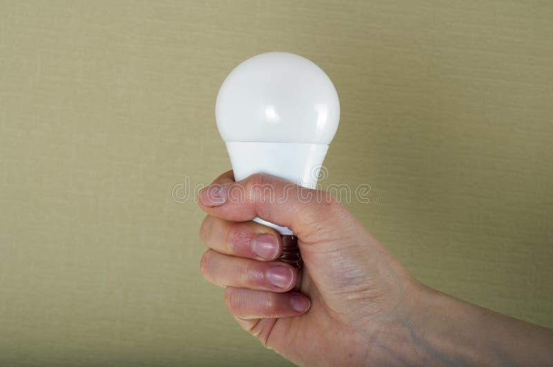 Κλείστε επάνω της λάμπας φωτός εκμετάλλευσης χεριών γυναικών ` s Πράσινη ανασκόπηση στοκ εικόνα