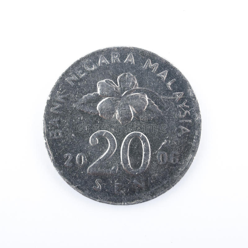 Κλείστε επάνω της Μαλαισίας το σεντ νομισμάτων 20 στοκ φωτογραφία με δικαίωμα ελεύθερης χρήσης