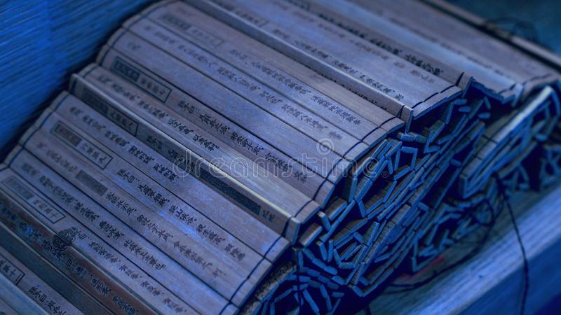 Κλείστε επάνω τη νύχτα κυλίνδρων μπαμπού τέχνης Tzu ήλιων του πολέμου στοκ φωτογραφία