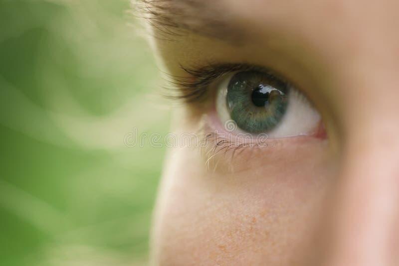 Κλείστε επάνω τη φωτογραφία του όμορφου πράσινου νέου θηλυκού ματιού υπαίθρια στοκ φωτογραφία
