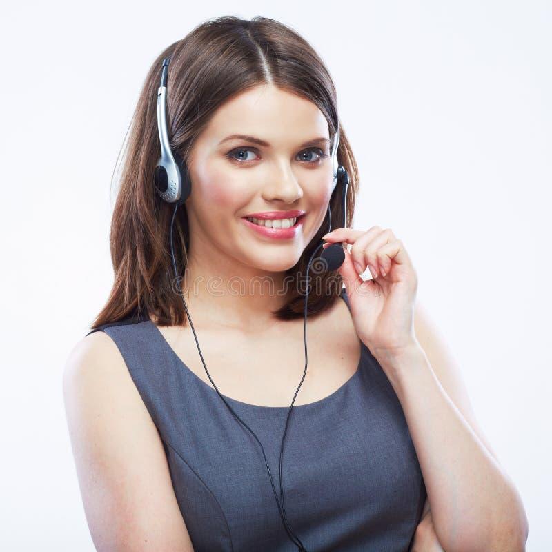 Κλείστε επάνω τον εργαζόμενο εξυπηρέτησης πελατών γυναικών, τηλεφωνικό κέντρο που χαμογελά ope στοκ εικόνες με δικαίωμα ελεύθερης χρήσης