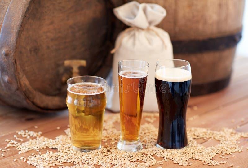 Κλείστε επάνω του βαρελιού, των γυαλιών και της τσάντας μπύρας με τη βύνη στοκ εικόνα