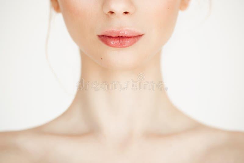 Κλείστε επάνω του nude όμορφου κοριτσιού με το καθαρό υγιές δέρμα πέρα από το άσπρο υπόβαθρο διάστημα αντιγράφων Cosmetology και  στοκ εικόνες με δικαίωμα ελεύθερης χρήσης
