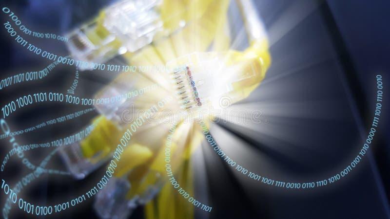 Κλείστε επάνω το καλώδιο του τοπικού LAN με τα δυαδικά στοιχεία στοκ φωτογραφίες με δικαίωμα ελεύθερης χρήσης