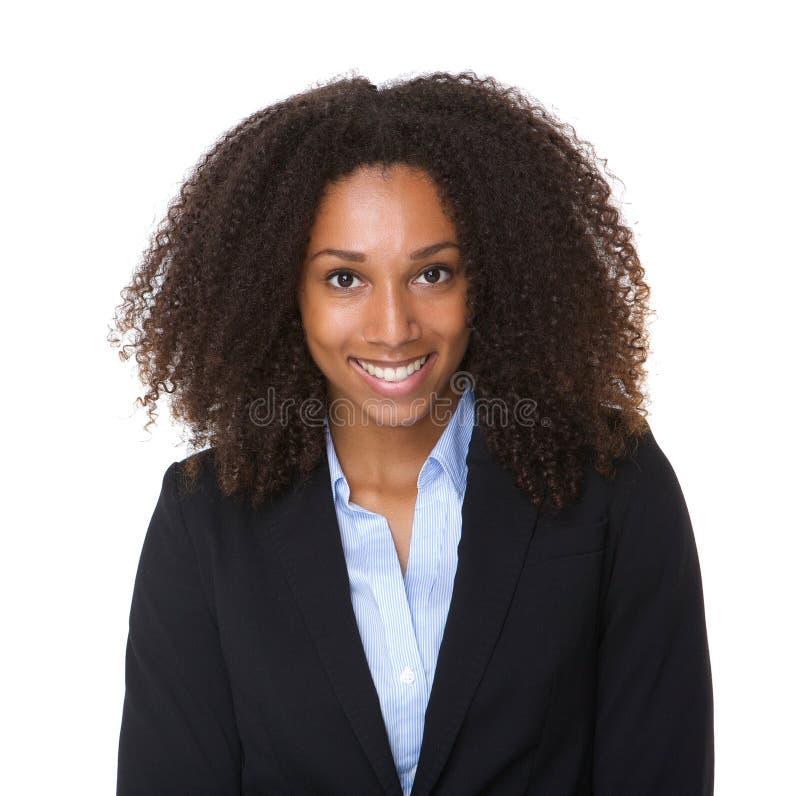Κλείστε επάνω το πορτρέτο ενός μαύρου επιχειρησιακού woma χαμόγελου στοκ εικόνα με δικαίωμα ελεύθερης χρήσης