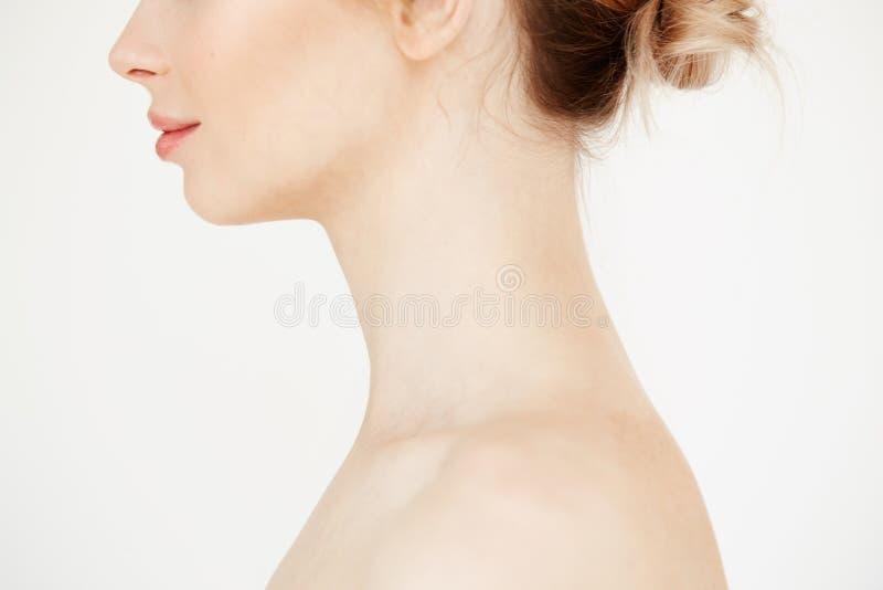 Κλείστε επάνω το σχεδιάγραμμα του nude όμορφου κοριτσιού με το καθαρό υγιές δέρμα που χαμογελά πέρα από το άσπρο υπόβαθρο Cosmeto στοκ φωτογραφίες με δικαίωμα ελεύθερης χρήσης