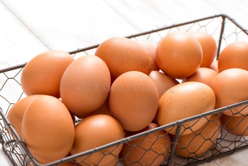 Κλείστε επάνω των καφετιών αυγών στο δίσκο καλωδίων κοτόπουλου στοκ φωτογραφία με δικαίωμα ελεύθερης χρήσης