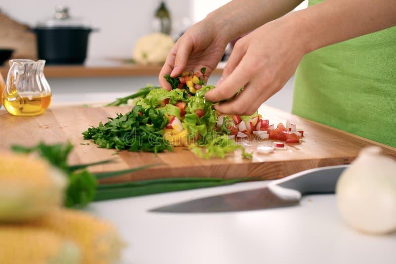 Κλείστε επάνω των χεριών γυναικών ` s που μαγειρεύουν στην κουζίνα Νοικοκυρά που τεμαχίζει τη φρέσκια σαλάτα Χορτοφάγος και εποικ στοκ φωτογραφίες με δικαίωμα ελεύθερης χρήσης