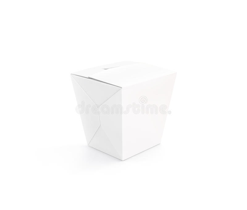 Κλειστή άσπρη κενή στάση προτύπων κιβωτίων wok που απομονώνεται στοκ φωτογραφία