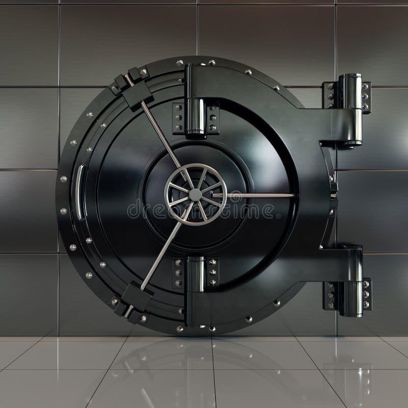 Κλειστή πόρτα υπόγειων θαλάμων τραπεζών μπροστινής άποψης διανυσματική απεικόνιση
