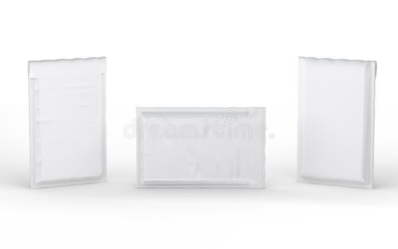 Κλειστός άσπρος γεμισμένος φυσαλίδα φάκελος με το ψαλίδισμα της πορείας διανυσματική απεικόνιση