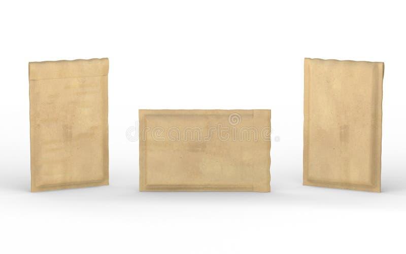 Κλειστός καφετής γεμισμένος φυσαλίδα φάκελος με το ψαλίδισμα της πορείας διανυσματική απεικόνιση