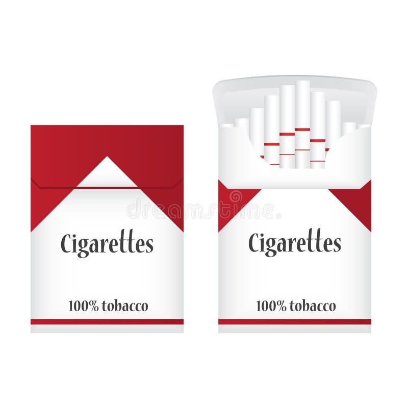 Κλειστό άσπρο πακέτο των τσιγάρων ανοικτό πακέτο τσιγάρων Εικονίδιο δύο πακέτων τσιγάρων Απεικόνιση πακέτων τσιγάρων διανυσματική απεικόνιση