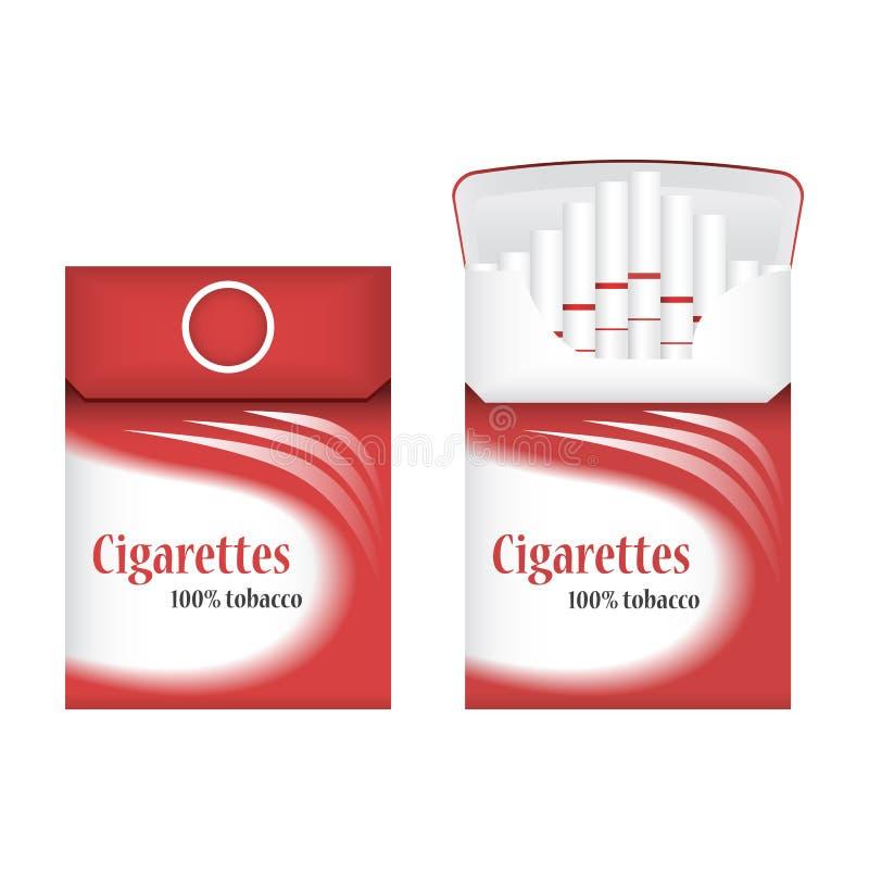 Κλειστό κόκκινο πακέτο των τσιγάρων ανοικτό πακέτο τσιγάρων Εικονίδιο πακέτων τσιγάρων Απεικόνιση πακέτων τσιγάρων στοκ εικόνες