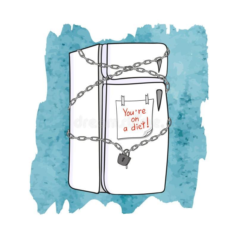 Κλειστό ψυγείο με την αλυσίδα και το κλείδωμα σιτηρέσιο έννοιας ελεύθερη απεικόνιση δικαιώματος