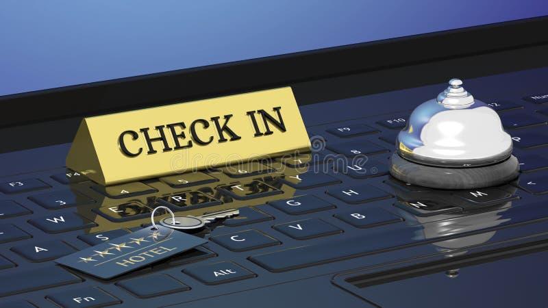 Κλειδί, έλεγχος μέσα και κουδούνι δωματίων ξενοδοχείων διανυσματική απεικόνιση
