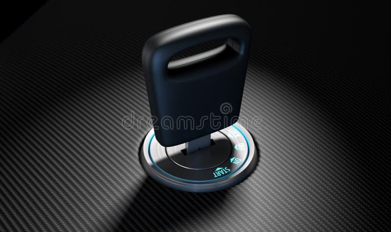 Κλειδί αυτοκινήτων στην ανάφλεξη διανυσματική απεικόνιση
